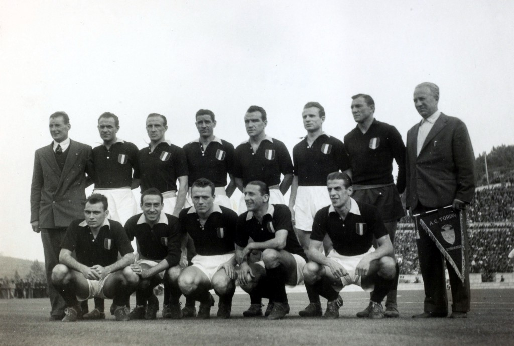 Sport. Football. pic: 3rd May 1949. Lisbon. Friendly. Benfica v Torino. The Torino team line-up before the match. Back row, left-right, Lievesley (trainer), Castigliano, Ballarin, Rigamonti, Lloik, Mazzola, Bacigalupo and team manager Ernesto Egri. Front,