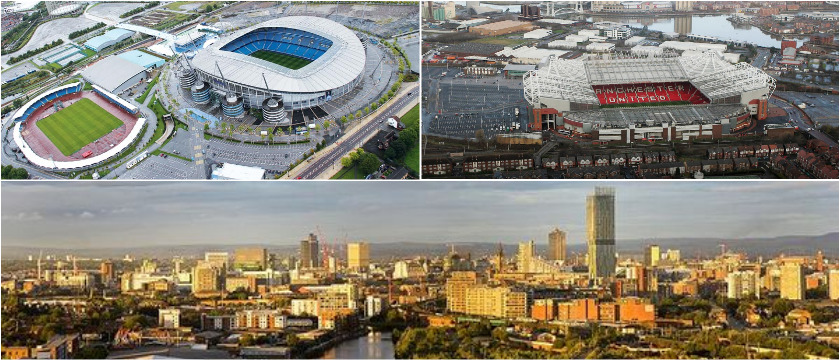 Manchester stadiums collage picture